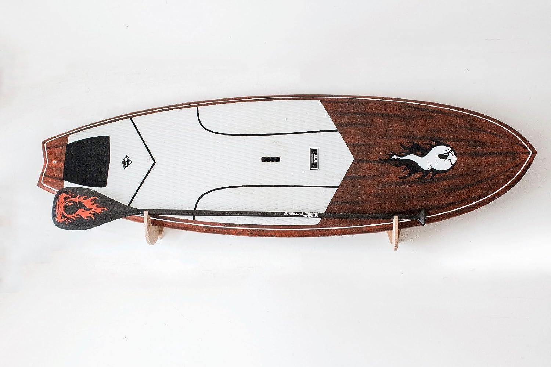 Bastidores de madera maciza hechos a mano para SUP Board (Paddle Board) y Windsurf - Shark Tooth modelo con soporte de paleta incrustado: Amazon.es: ...