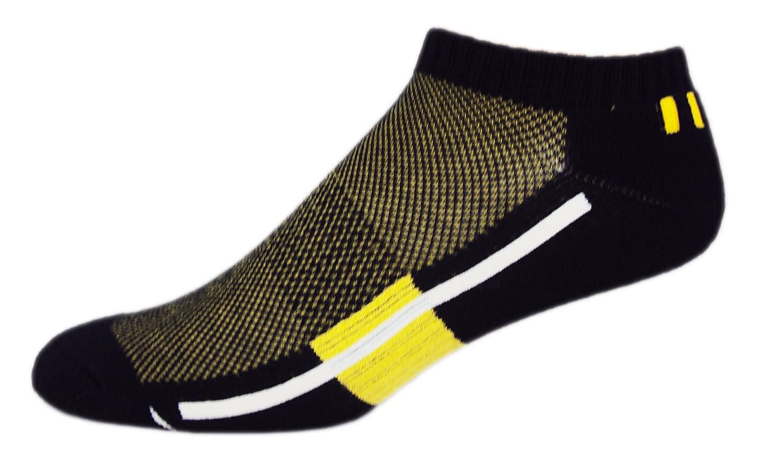 MOXY Socks No-Show Performance AiRFLeX Yoga Socks, Black/Yellow/White