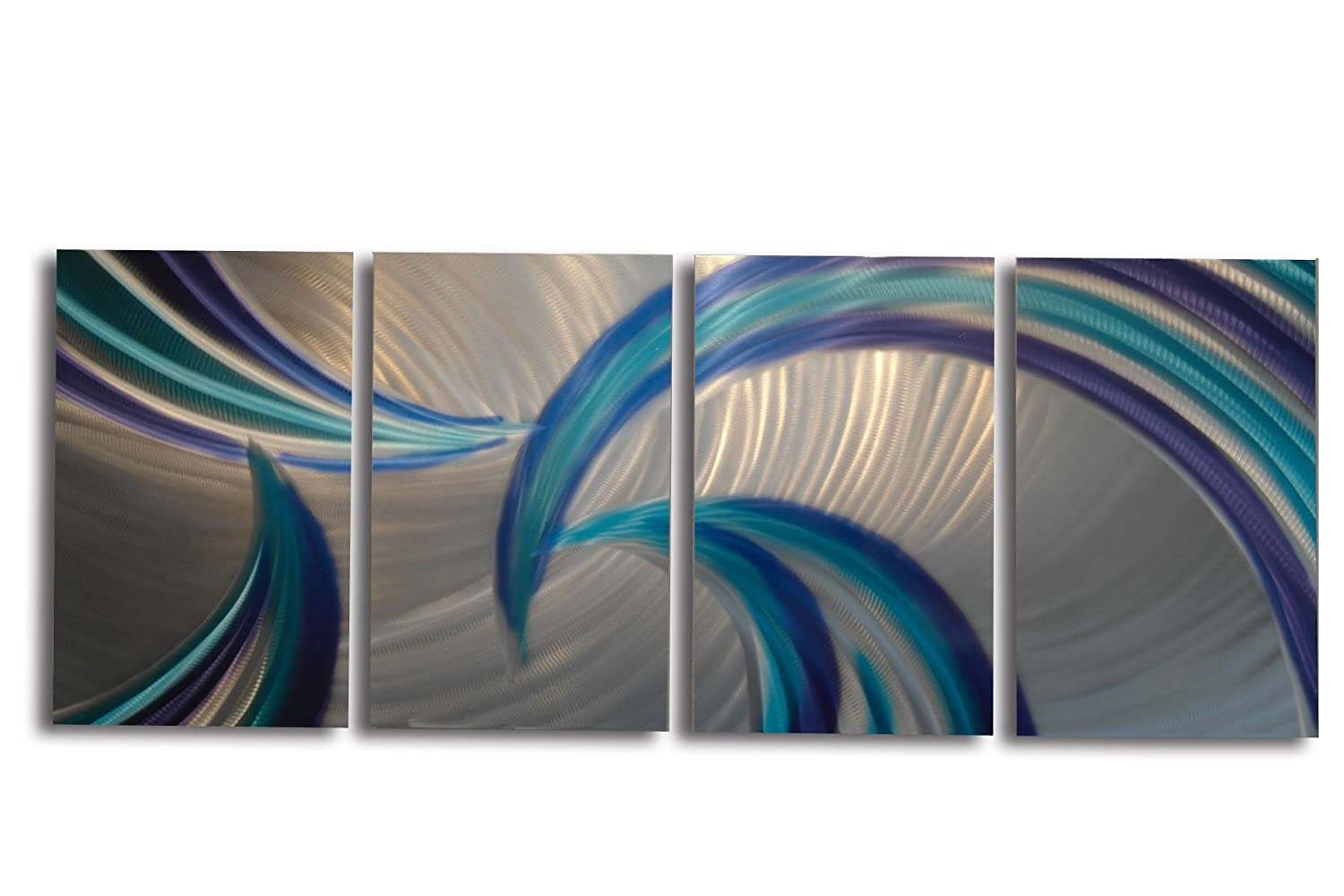 Amazon com metal wall art modern home decor abstract wall sculpture contemporary tempest blues by miles shay kitchen dining