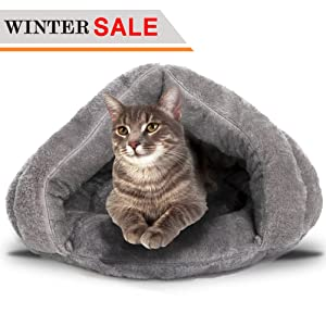 Soft Warm Cat Bed for Winter Cat Tent Self-Warming Sleeping Bed for Cats Fleece Pet Cave Bed for Winter Pets Puppy Indoor Pet Triangle Nest
