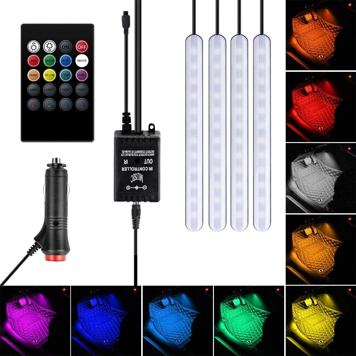 Chargeur USB Lot de 4 bandes lumineuses /à LED pour int/érieur de voiture Avec fonction sonore active T/él/écommande sans fil Multicolore