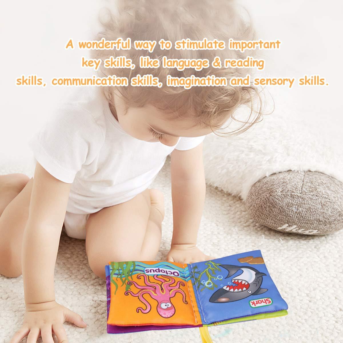 Libros de Tela para Beb/é Libro Bebe Activity Tejido Blando Libros Blandos Bebes libro para un desarrollo interactivo regalo para navidad