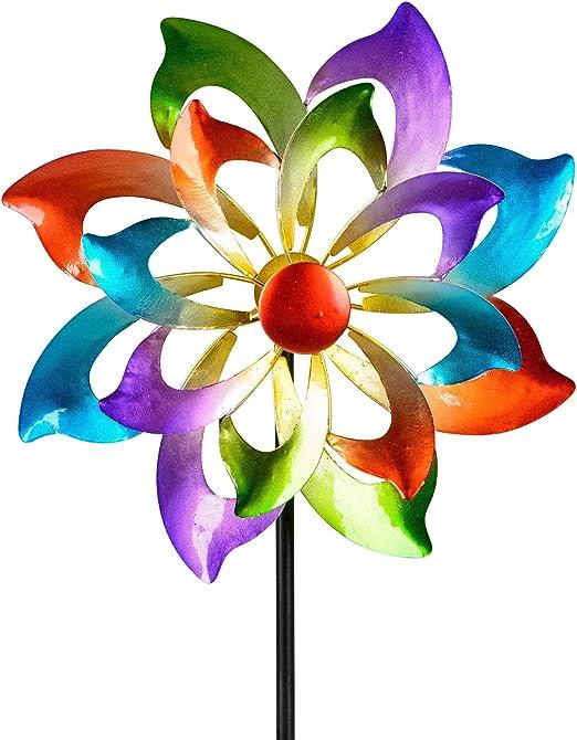 dekojohnson - Molinillo de viento para el jardín de metal, diseño de flores, molino de viento doble, color lila/azul/rojo/verde, 122 cm grande: Amazon.es: Jardín
