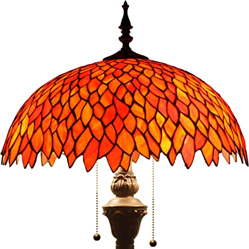 Red Wisteria Tiffany Style Floor Standing Lamp W16H64 Inch Tall Stained Glass Shade 2E26 Antique Read Lighting Base S523R WERFACTORY LAMPS Bedroom Living Room Bedside Table Bookcase Dresser Lover Gift