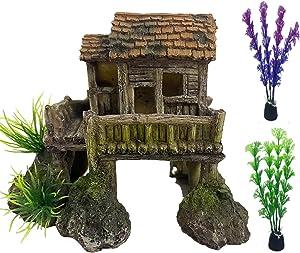 Tfwadmx Aquarium House Decorations Small Resin Fish Tank Decor Betta Fish Grass Rock Cave Hideouts House Ornament Colorful Plastic Plants Accessories (3 Pcs)