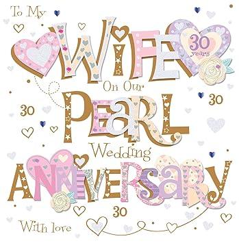 Wife pearl 30th wedding anniversary greeting card 8 square handmade wife pearl 30th wedding anniversary greeting card 8quot square handmade cards m4hsunfo