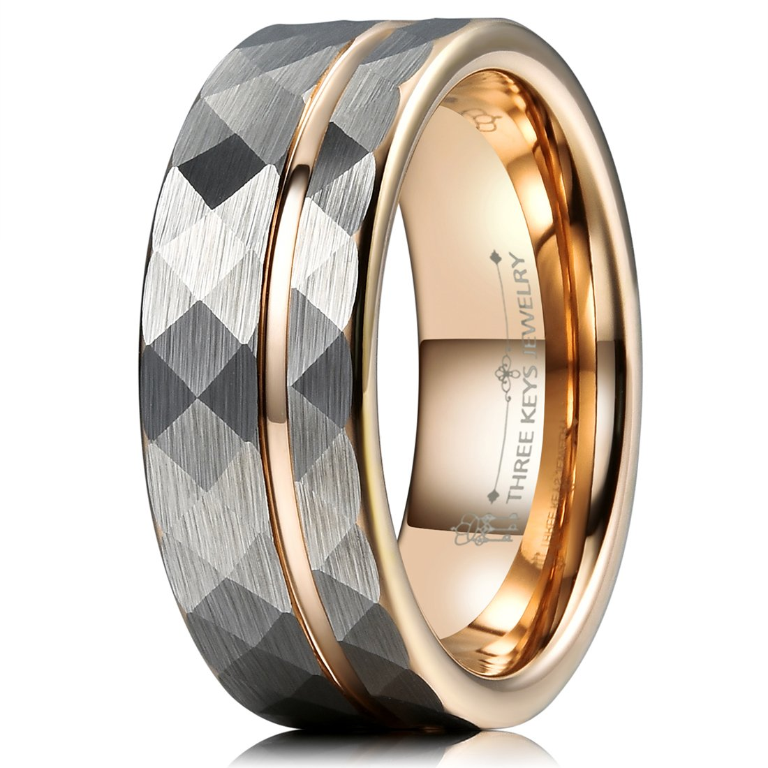 Three Keys Jewelry 8mm Hammered Brushed Silver Tungsten Wedding Ring with Rose Gold Interior & Stripe Wedding Band Engagement Ring Size 10