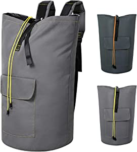 Chrislley 115L Extra Large Laundry Bags Backpack Laundry Hamper Backpack Collapsible Laundry Bag for College Dorm Hanging Laundry Hamper Bags with Adjustable Shoulder Straps (Light Grey,XL)