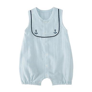 115d5b11e499 pureborn Baby Boys Girls Sleeveless Muslin Cotton Bodysuits Romper Navy  Blue Anchor Naval Style Summer Breathable