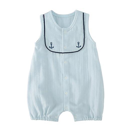 65b3234edd22a pureborn Baby Boys Cotton Romper Summer Clothes Sailor Outfit 0-24 Months