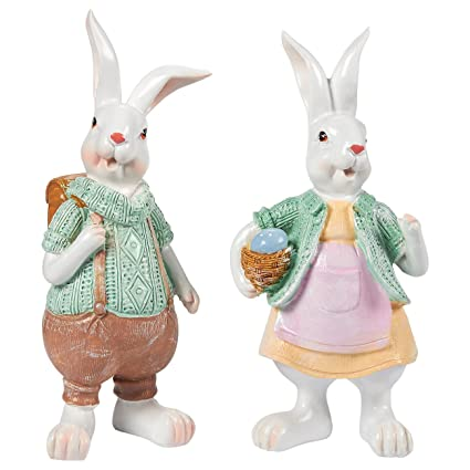 Juvale Easter Bunny Decorations For Home   Set Of 2 Easter Bunny Resin  Figurines, Home