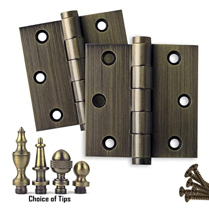 "2 PK - Door Hinges 3"" x 3"" Extruded Solid Brass Hinge Antique  Brass - 2 PK - Door Hinges 3"