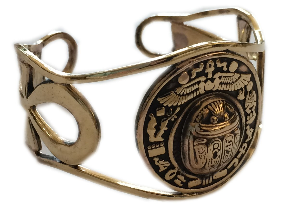 KemetArt Egyptian Bronze Bangle (Scarab & ANKH Filigree)