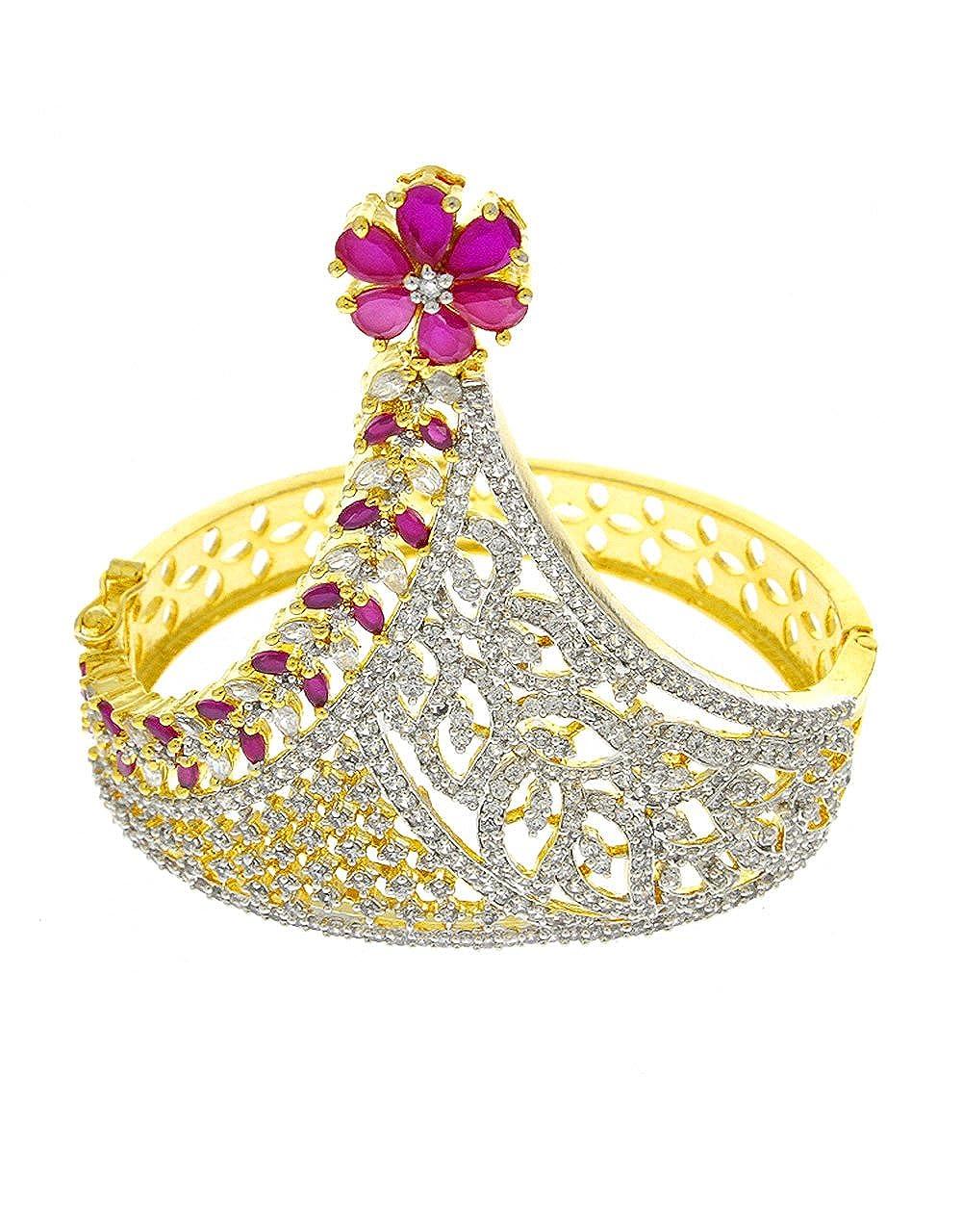 Anuradha Art Golden Colour Studded Kunda Stone Wonderful Kada//Bracelets For Women//Girls