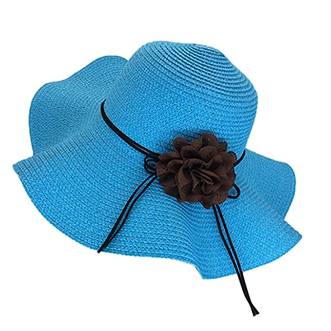 Dedesty Women Sun Hats Wide Brim Sun Visor Hat with Big Heads Wide Brim Beach  Hat 6eccb838dd3