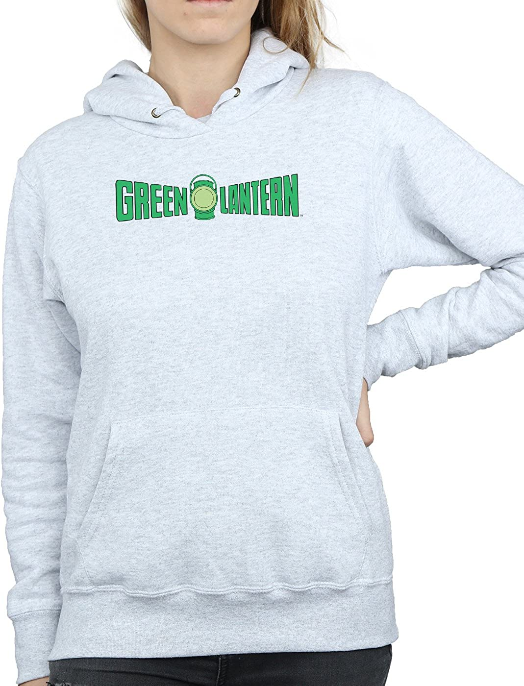 DC Comics Damen Green Lantern Text Logo Kapuzenpullover Heather Grey