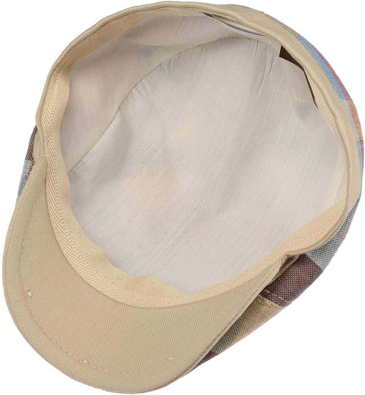 Lierys Ravello Check Leinen Flatcap Schirmm/ütze Leinencap Schieberm/ütze Herren Futter Fr/ühling-Sommer Made in Italy mit Schirm