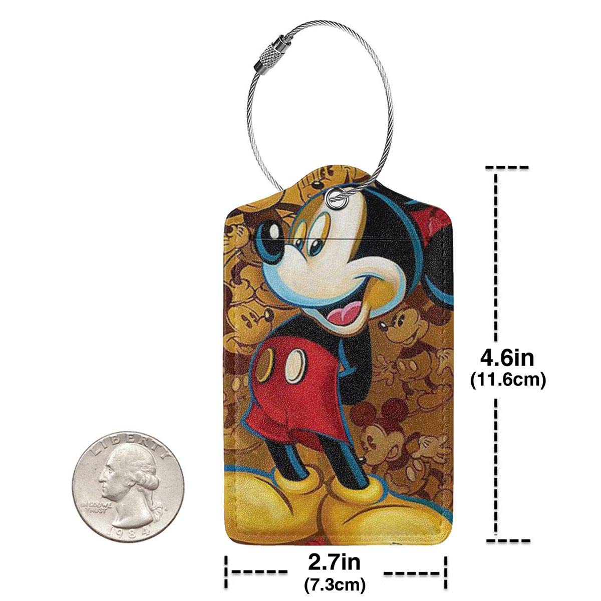Fashion Cool Mickey Mouse Soft Leather Luggage Tags With Privacy Cover 1-4 Pcs Choose Suit For Travel,Vacation