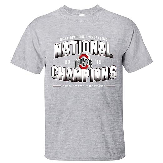 e1c5ec2ac YOYE Ohio State Buckeyes 2015 Wrestling National Champions Men's Cotton T  Shirt grey XL