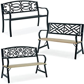 Awesome Fineway Stylish 2 Seater Cast Iron Wooden Garden Outdoor Back Park Bench Seat Furniture Loveseat Conservatory Patio Lawn Or Garden Seat Cross Pabps2019 Chair Design Images Pabps2019Com