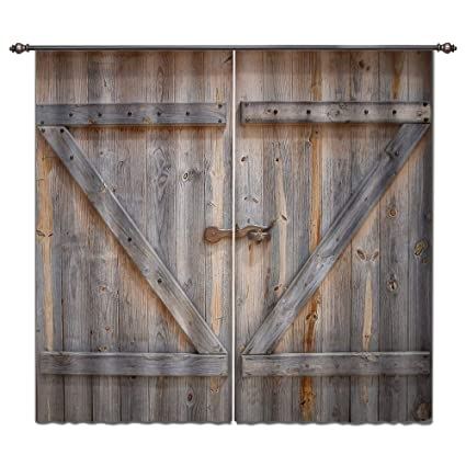 Rustic Curtains And Drapes.Lb Rustic Barn Door Window Curtains For Living Room Bedroom Vintage Wooden Farmhouse Door Decor Teen Kids Room Darkening Blackout Curtains Drapes 2