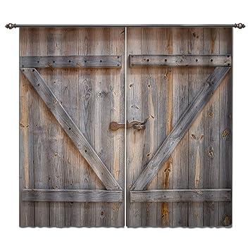 Barn Door Window Covering.Lb Rustic Barn Door Window Curtains For Living Room Bedroom Vintage Wooden Farmhouse Door Decor Teen Kids Room Darkening Blackout Curtains Drapes 2