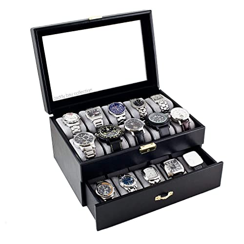 Personalized Black Watch Box Holds 20 Watches Men S Gift Father S Day Gift Groomsmen Gift Anniversary Gift Christmas Gift Caddy Bay Collection