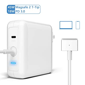 Amazon.com: MacBook Air Charger, 45W T-Tip Magsafe 2 Laptop ...
