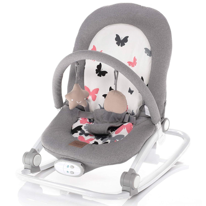 ZOPA Schaukelwippe RELAX babywippe babyliege Grey butterflies