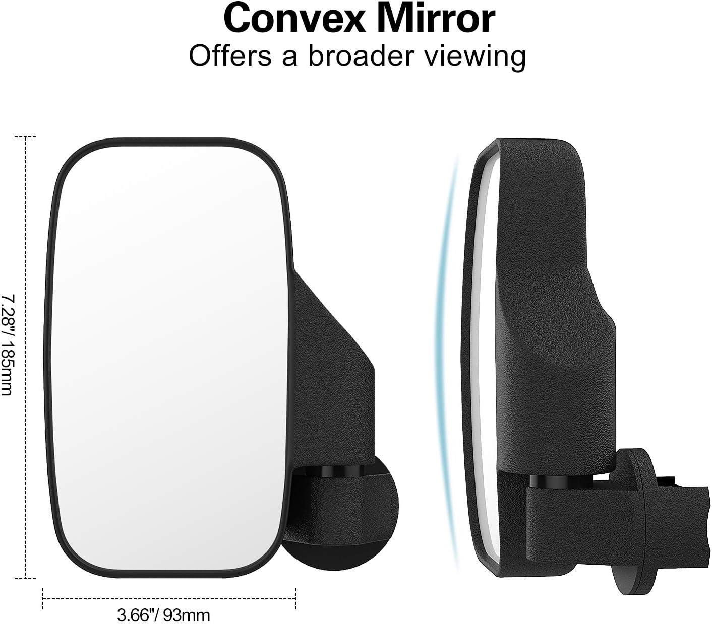 MoKo 2Pack Shatterproof Side Convex All-Terrain Vehicle UTV Rear Rearview Mirror