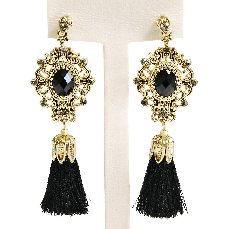 Amazon.com: Gold Tassel Bohemian Vintage Dangle Drop Big Statement ...