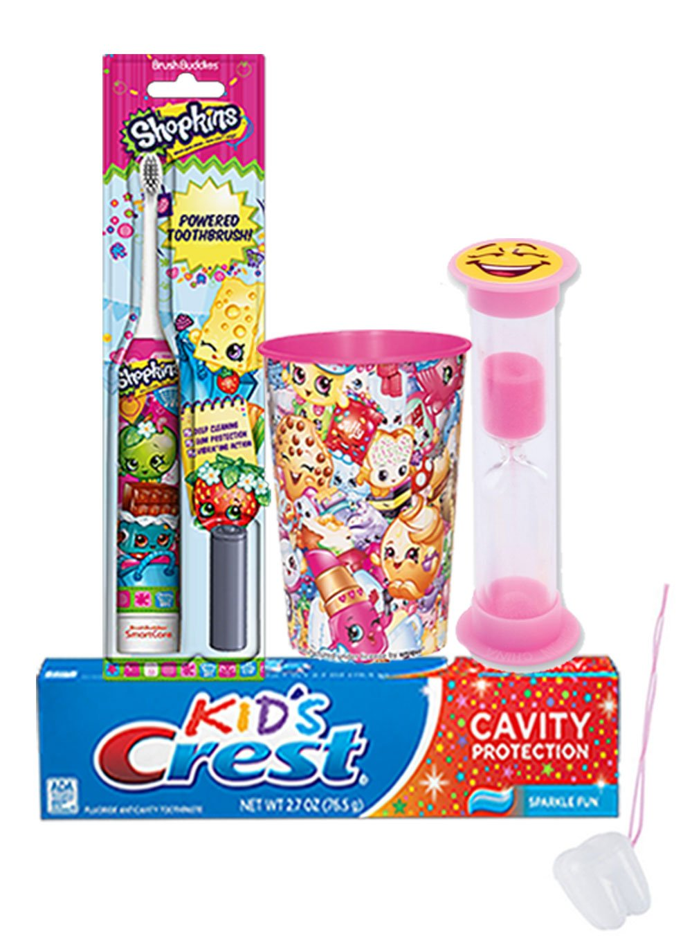 Shopkin 4pc. Bright Smile Oral Hygiene Set! Shopkins Turbo Powered Toothbrush, Crest Kids Sparkling Toothpaste, 2 Minute…