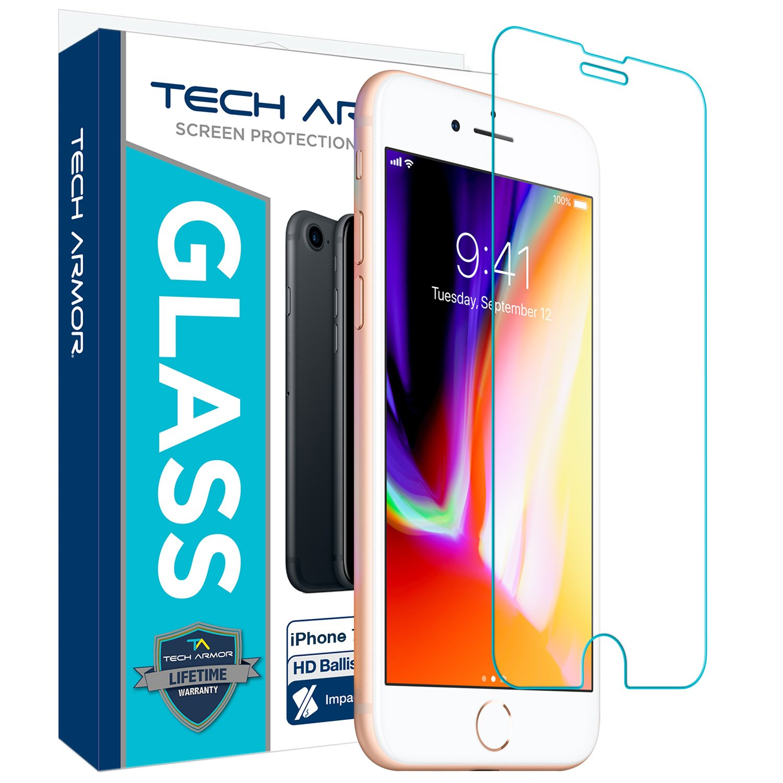 Tech Armor Apple iPhone 6 Plus/6s Plus, iPhone 7 Plus, iPhone 8 Plus Ballistic Glass Screen Protector , HD Clear [1-Pack]