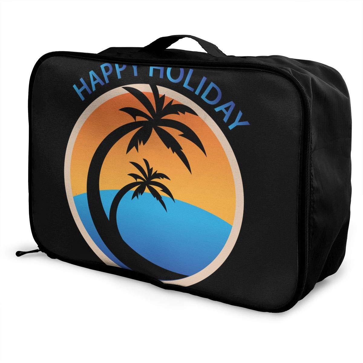 ADGAI Tropical Summer Canvas Travel Weekender Bag,Fashion Custom Lightweight Large Capacity Portable Luggage Bag,Suitcase Trolley Bag