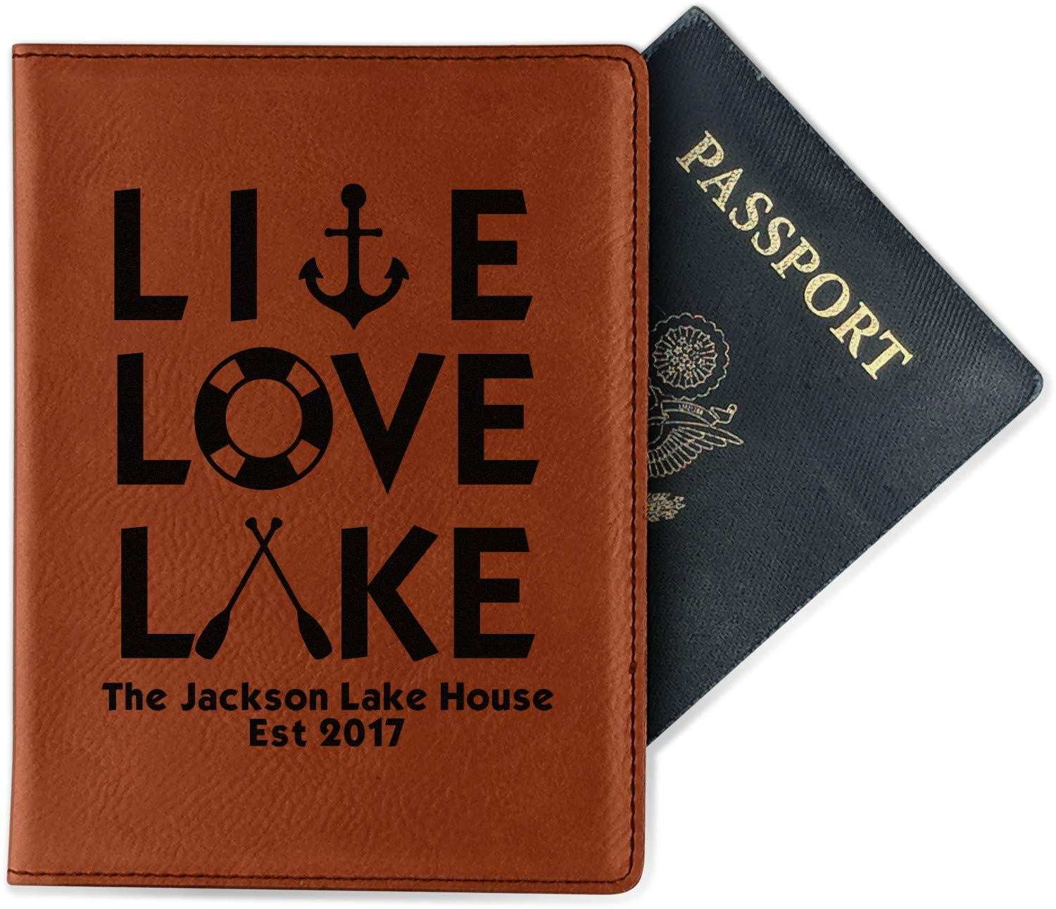 Live Love Lake Leatherette Passport Holder Personalized Double Sided