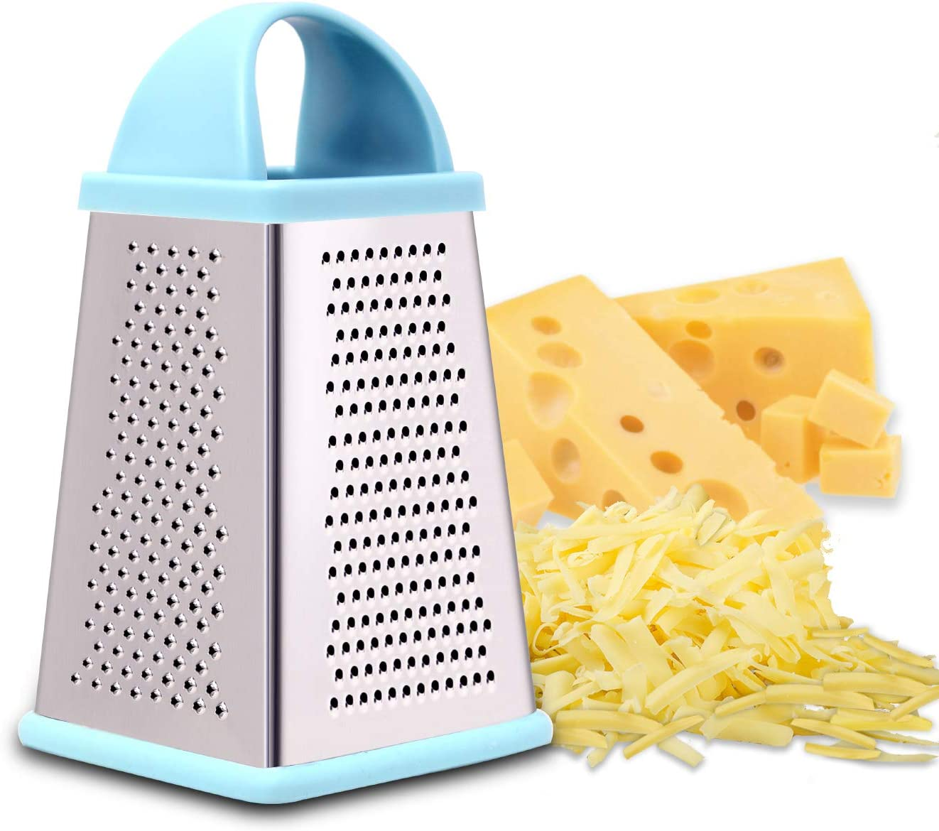 Professional Box Cheese Grater, Graters for Kitchen Stainless Steel and Shredder with 4 Sides, Best for Parmesan Cheese, Vegetables, Ginger, Food and More(blue)