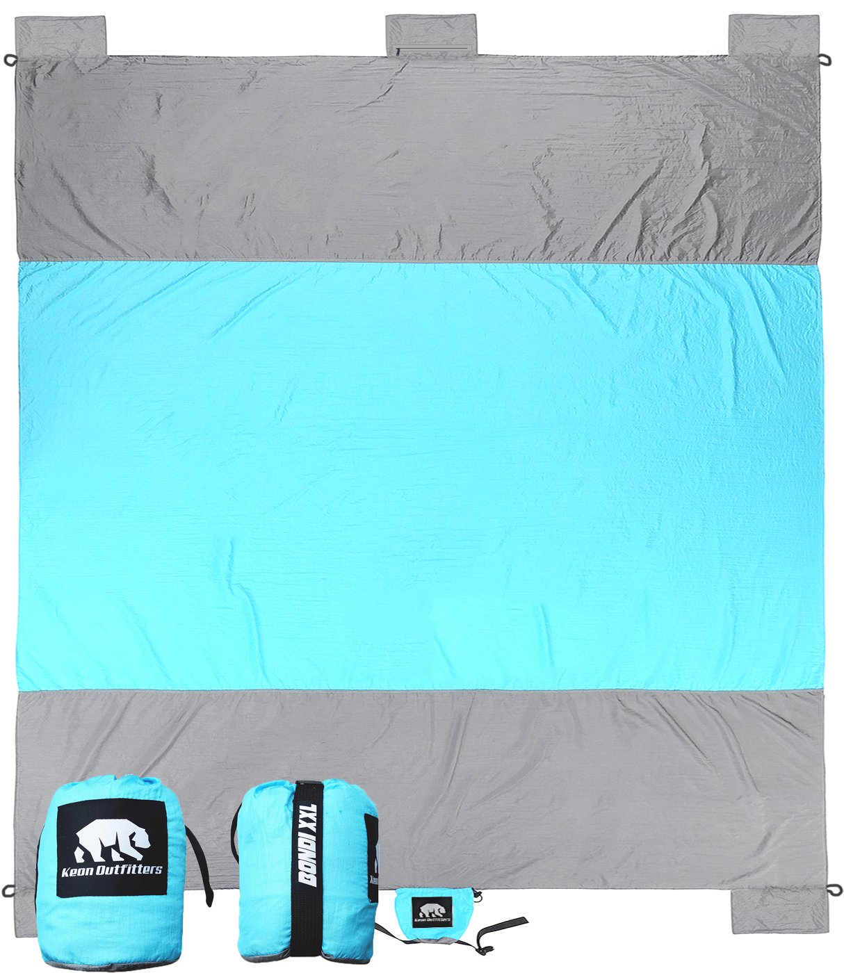 ALL-NEW Bondi Oversized Outdoor Beach Blanket / Picnic Blanket - 7' X 9' 20% Bigger Than Other Blankets. Made From Strong Parachute Nylon. Includes Built In Sand Anchors & Hidden Zipper Pockets