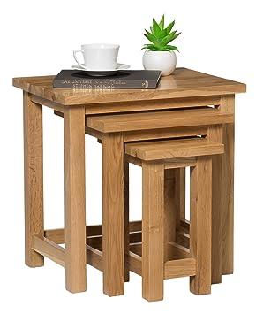 Merveilleux Waverly Oak Nest Of Tables In Light Oak Finish | Solid Wooden Side / End /