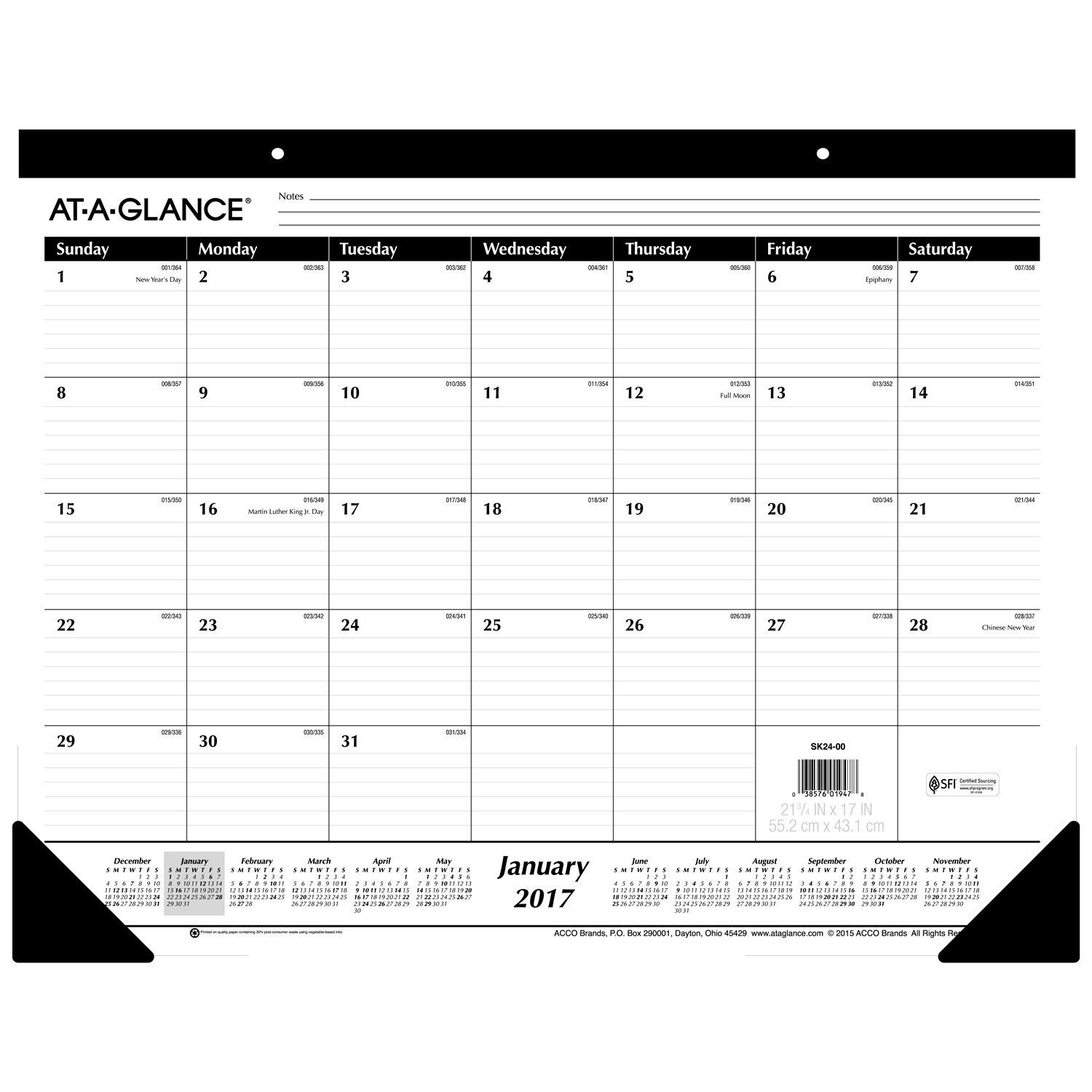 Amazon.com : AT-A-GLANCE Desk Pad Calendar 2017, Monthly, Ruled ...