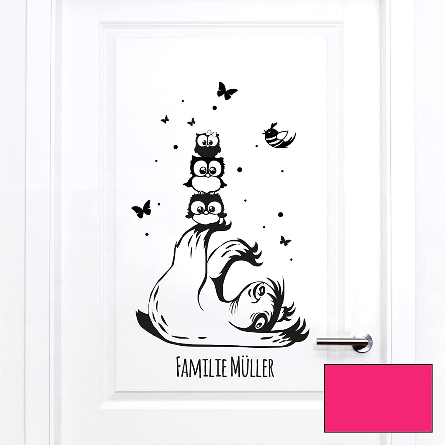Ilka Parey Wandtattoo Welt Letterbox Sticker Sloth With Owls And Name M2191 Without Letterbox Selected Colour Pink Selected Size M 18 Cm Wide X 32 Cm High Amazon Co Uk Kitchen Home
