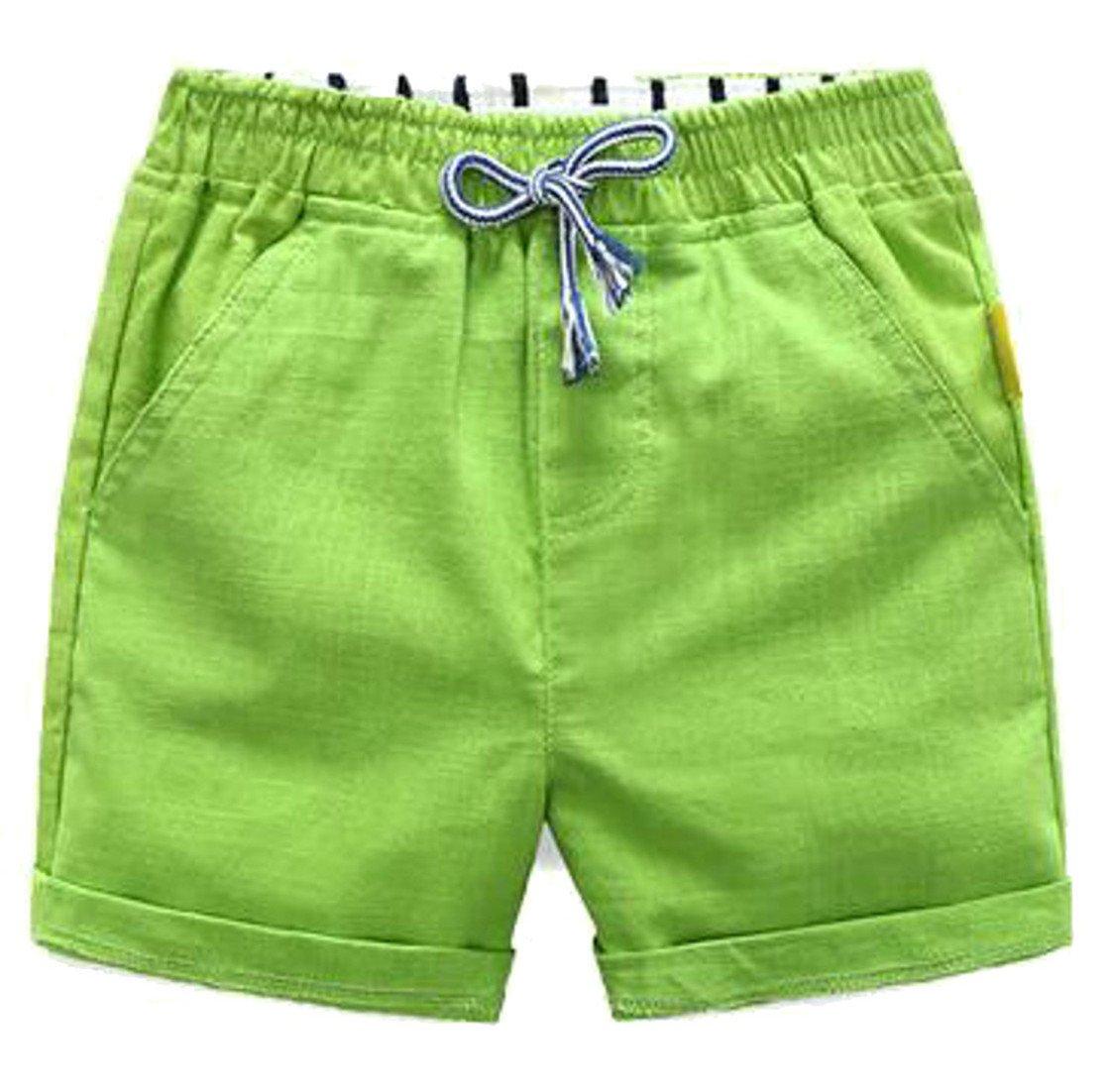 Papijam Girls Boys Elastic Waist Cotton Drawstring Cuffed Summer Shorts Green 10/12