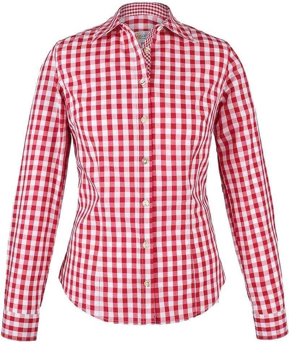 Damen Trachtenhemd Trachtenbluse rot weiß kariert langarm