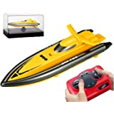 POCO DIVO 2.4Ghz Mini RC Racing Boat Pool Tracer Bathtub Yacht Toy Motor Ship - Yellow