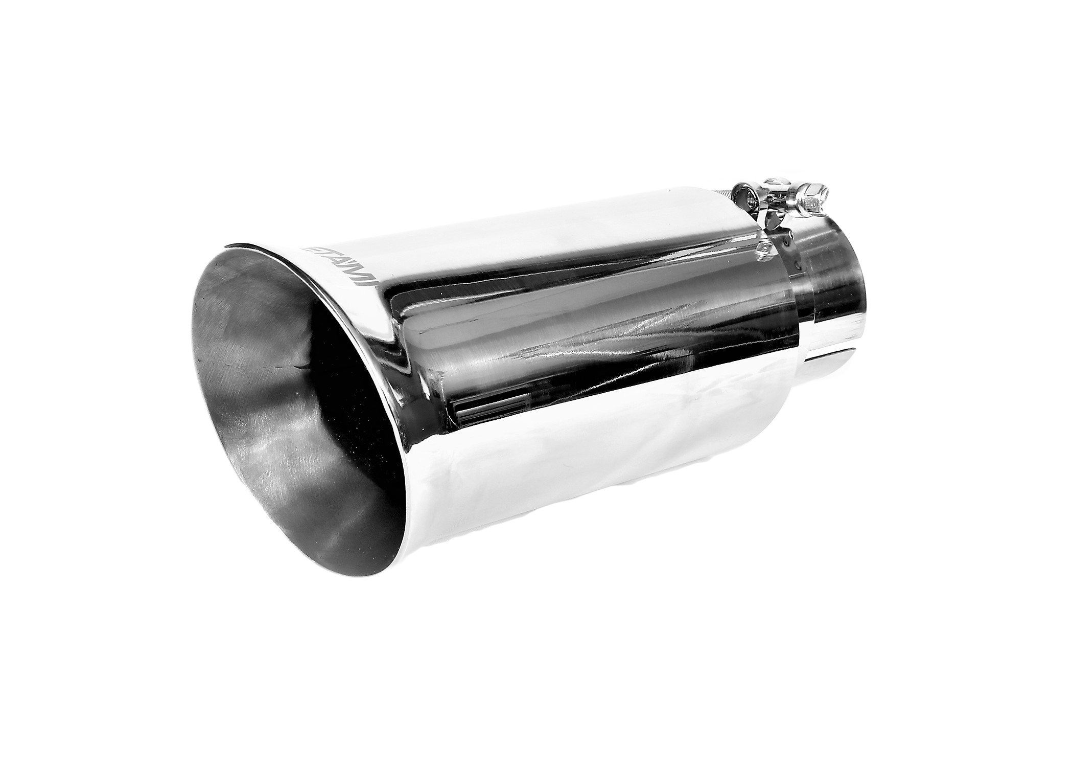 NETAMI NT-2417 Double Wall Mirror Polished T304 Stainless Steel Exhaust Tip Slant Clamp-on Inlet 2.35'', Outlet 4'', Overall Lenght 9''
