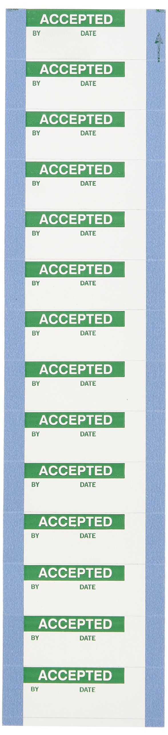 Brady WOX-2 Permanent Polyester Quality Control Labels , Green On White,  1.500'' x 0.625''  (38.100 Mm x 15.880 Mm),  Legend ''Accepted''  (14 Per Card,  1 Card Per Package)