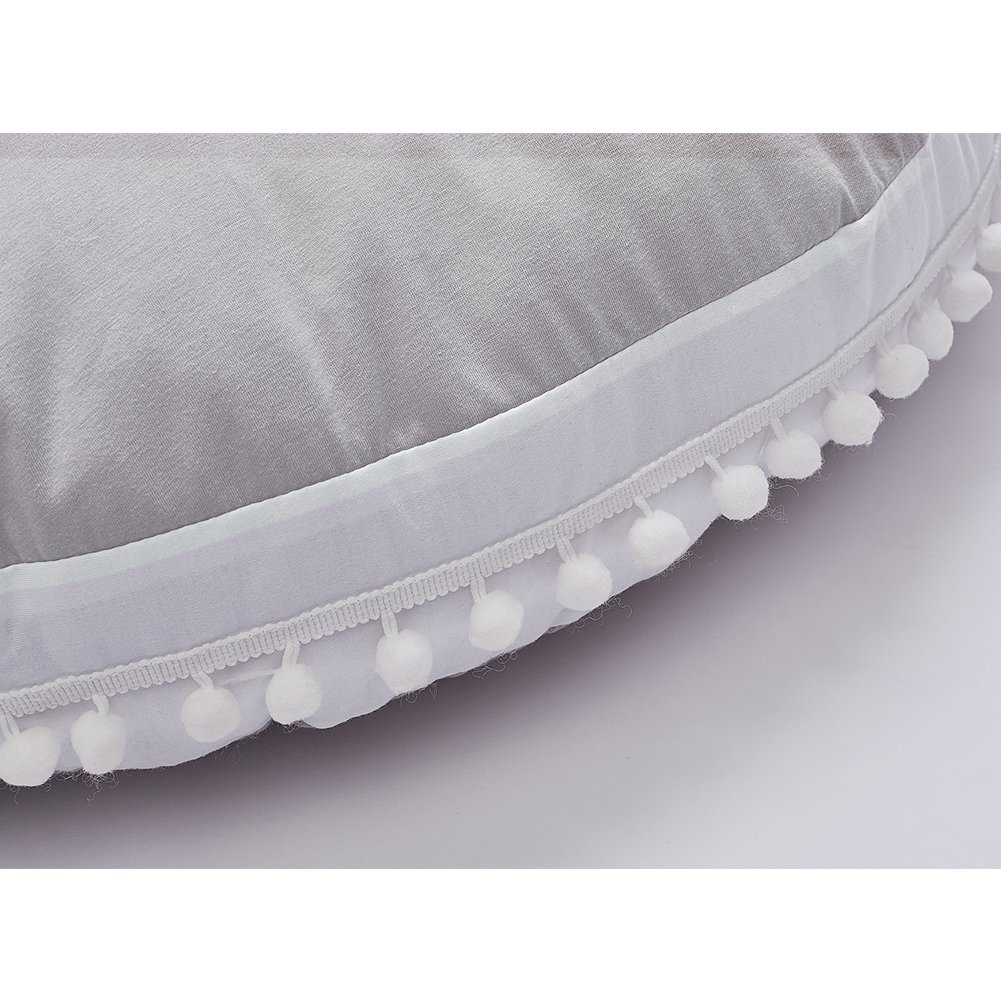 Ultra Soft Toddler Floor Pillow with White Pom Poms Edge Grey Best Seating Cushion /& Play Mat for Kids and Children Wonder Space Baby Seat Lounger Pouf