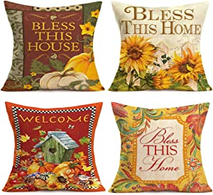 Fukeen Set of 4 Bless This Home Throw Pillow Covers Decorative Fall Pumpkin Maple Leaf Sunflower Birds Pattern Pillow Cases Standard 18x18 Inch Cotton Linen Cushion Cover Rustic Farmhouse Room Decor