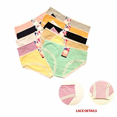 7f9f49e93c 2 Pairs Ladies Underwear Knickers Colourful Cotton Rich Lace Edges Brief  Panties (Small - Medium