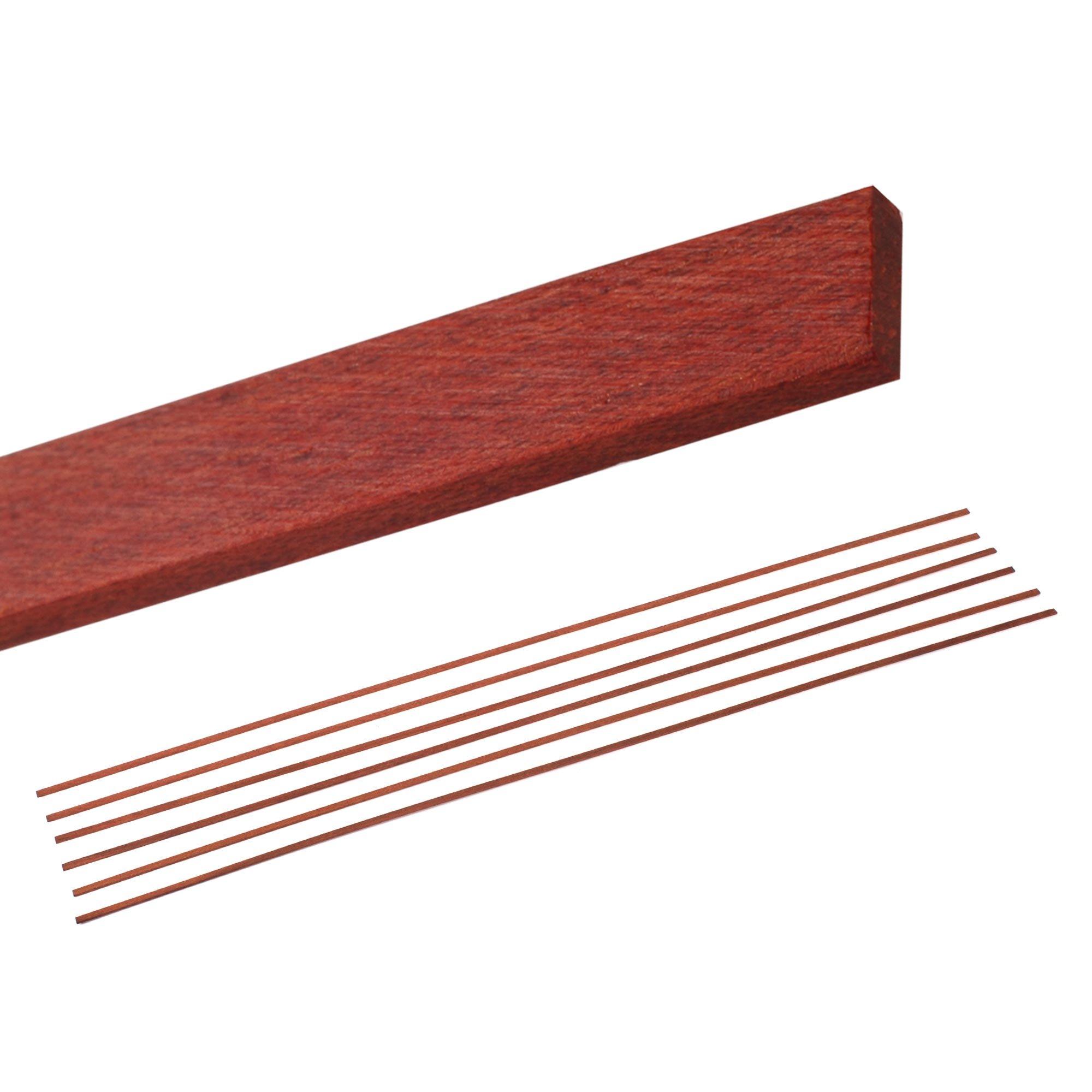 StewMac Natural Wood Guitar Bindings, Bloodwood - 6 Pack