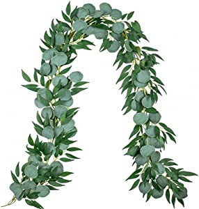 Miracliy 6.5ft Eucalyptus Garland with Willow Leaves, Faux Greenery Vine for Wedding Backdrop Mantel Table Runner Party Home Decor